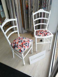 vitrine fauteuils tissu Camengo