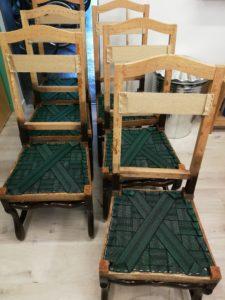 sanglage élastique chaises Louis XIII