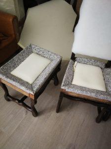 Collage 1ère mousse assise tabouret et chaises Louis XIII