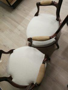 Pose toile blanche Fauteuils Louis Philippe