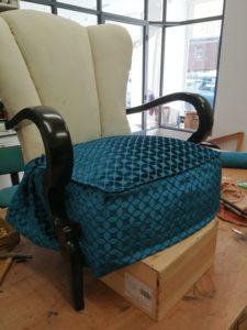 fauteuil art déco pose tissu assise