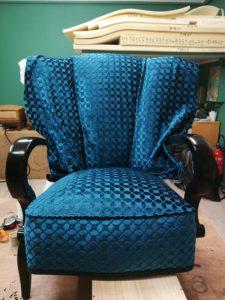 fauteuil art déco pose tissu dossier
